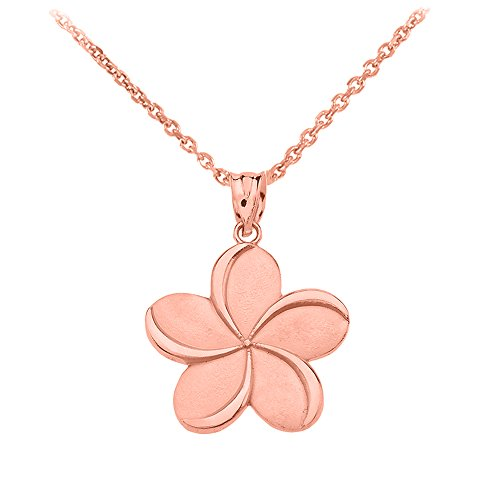 Fine 10k Rose Gold Hawaiian Plumeria Flower Pendant Necklace, 16