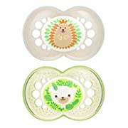 MAM Pacifiers, Baby Pacifier 6+ Months, Best Pacifier for Breastfed Babies, 'Animal' Design Collection, Unisex, 2-Count