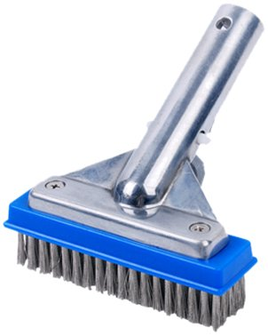 Pooline 5inch; Pool Brush with 5inch; Aluminum Back and Handle- Stainless Steel Bristles - Blue Brush Body