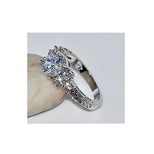 Sumanee Diamond White Sapphire Wedding Ring 10KT silver Jewelry Size 6-10 (6)