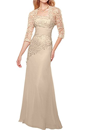 Pretygirl Women's Lace Long Mother Of The Bride Dress With Jacket Formal Evening Gowns (US 12, Champagne)