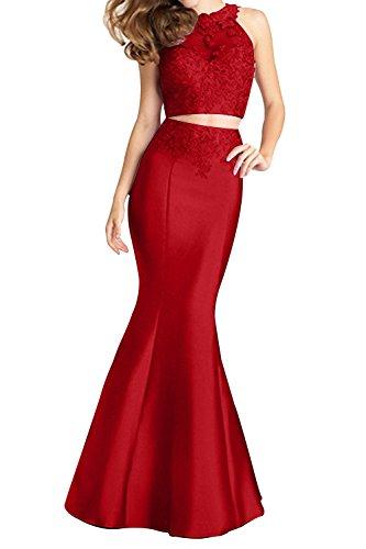Rot Damen Zwei Promkleider teilig Sexy Abendkleider Charmant Durchsichtig Neu Lang Ballkleider Meerjungfrau FwPq6