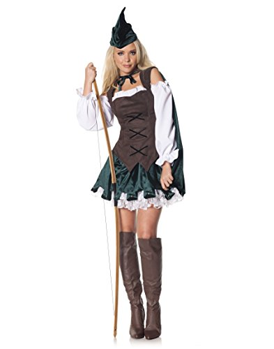 Robin Hood Ladies Fancy Dress (Underwraps Women's Robin, Brown/Green/White, Small)