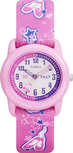 Timex Kids T7B151 Time Teacher Pink Ballerina Resin Watch Elastic Fabric Strap