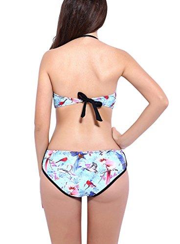 Dolamen Mujer trajes de baño, Bañador Deportivo Traje de Baño de Una Pieza Bañador de natación Bikini Para Mujer, Impresión de la flor de la taza incorporada Negro
