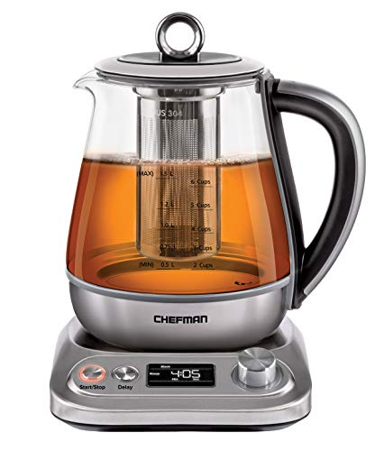 Chefman Programmable Electric Glass Kettle, Temperature Control & 8 Preset Steep Times, Auto Shut Off, Removable Tea Infuser Included, Clean Water Filter, 6+ Cup Capacity, Stainless Steel, 1.5 Liter