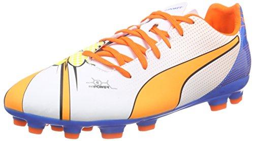 Puma evoPOWER 4.2 POP AG Herren Fußballschuhe Mehrfarbig (white-orange clown fish-electric blue lemonade 01)