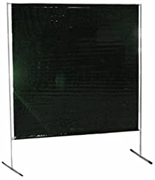 Sellstrom S97240-3 Cepro Vinyl Gazelle Welding Curtain and Lightweight Frame Kit, 6\' Width x 6\' Height x 14 mil Thick, (Transparent Green)