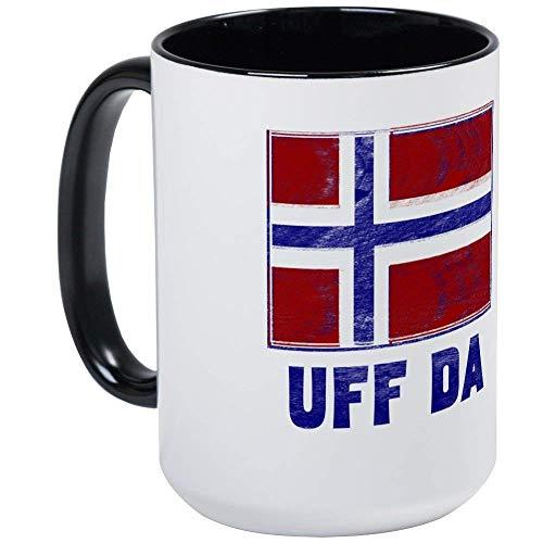 Uff Da Norway Flag Mug - 11oz Coffee Mug, Ceramic 11oz Coffee Cup (Cost Of A Cup Of Coffee In Norway)