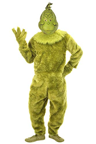 elope Dr. Seuss The Grinch Deluxe Jumpsuit Mens S/M Green -