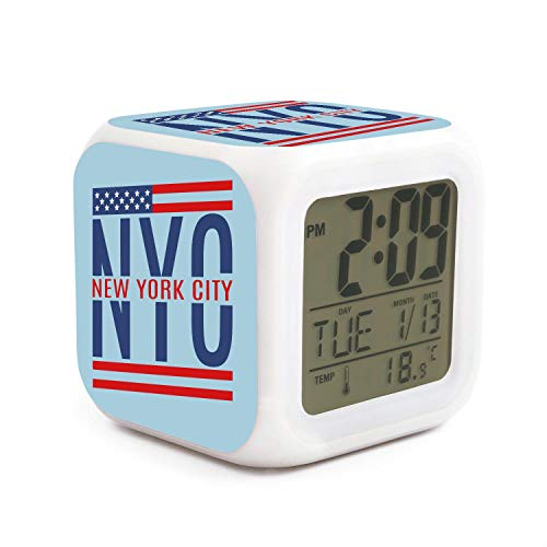 JWOJJUAW Wake Up New York City with American Flag Dimmer Snooze LED Nightlight Bedroom Desk Travel Digital Cool Alarm Clock for Kids Girls