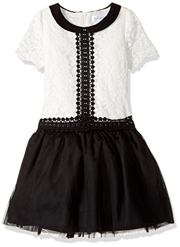 (Little Angels Girls' Little Drop Waist Dress with Peter Pan Collar, Black 6X)