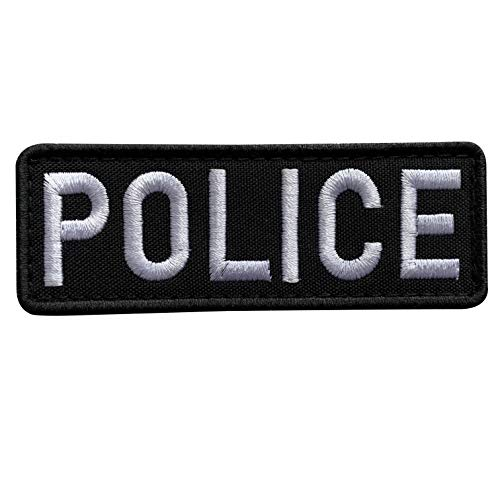 (uuKen Embroidery Cloth Fabric Police Vest Patch Black and White for Military Police Tactical Vest Jacket Plate Carrier Back Panel (Black and White, Regular 4