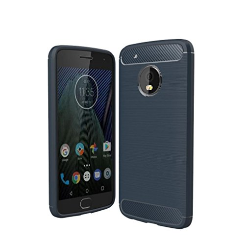 Price comparison product image GBSELL Slim Carbon Fiber Soft Silicone Case Cover For Motorola Moto G5 Plus (Blue)