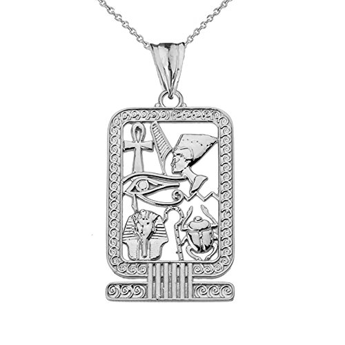 Egyptian Cartouche Pendant - Exquisite Sterling Silver Ancient Egyptian Cartouche Pendant Necklace, 18