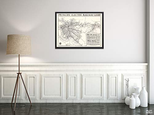 Electric Map Railway Pacific (Map|Lines of The Pacific Electric Railway in Southern California. 1912|Vintage Fine Art Reproduction|Size: 18x24|Ready to Frame)