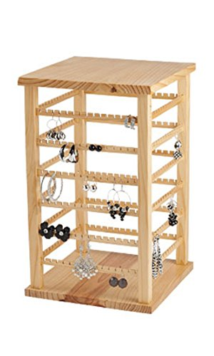 Wood Earring Display Large,• Natural Wood Finish •Overall Dimension 9 3/8''w X 9 3/8''d X 16 3/8''h, by Sprinkles Gifts (Image #1)