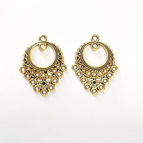 Gold Filigree Flower Chandelier Dangle Earring Connector Craft Jewelry Making Finding DIY