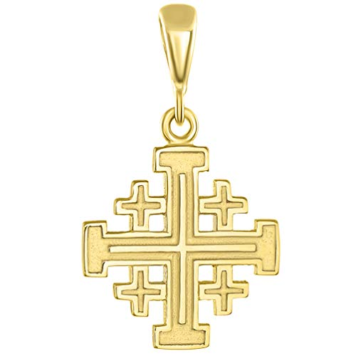 Solid 14K Yellow Gold Crusaders Jerusalem Cross Pendant ()