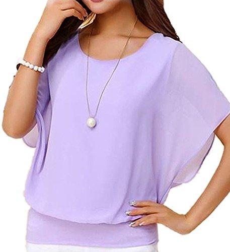 Viishow Women's Loose Casual Short Sleeve Chiffon Top T-Shirt Blouse Pink 3XL