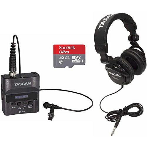 Tascam DR-10L Digital Recorder Lav Mic System with 32GB SD Card and Headphones
