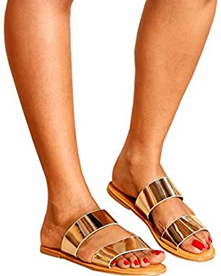 Bamboo - Women's Patent Two Band Slide - Gold