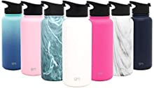 Simple Modern 32oz Summit Water Bottle - Stainless Steel Tumbler Metal Flask +2 Lids - Wide Mouth Double Wall Vacuum Insulated White Leakproof -Winter White