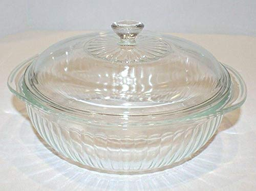 (Vintage Pyrex Ribbed Covered Casserole Clear Glass 2 Qt - 024-s)