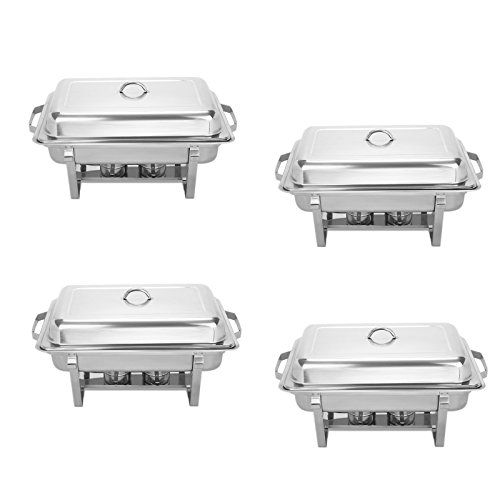BestEquip Chafing Dish Set 4 Pack 8 Quart Chafer Dish Set Full Size Stainless Steel Chafer with Foldable Frame pack of 4