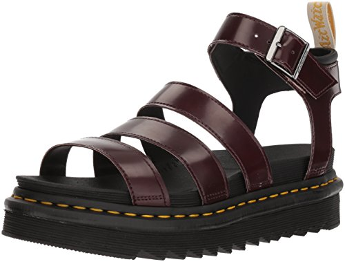 Strap Sandals Pu and V Women's Red Black Ankle 600 Blaire Red Cambridge Cherry Martens Dr Soft Brush qYBXxRq