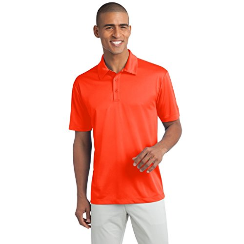 Mens Short Sleeve Moisture Wicking Silk Touch Polo Shirt, XL, Neon Orange