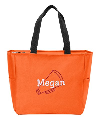 All about me company Essential Zip Tote | Personalized Megaphone Shoulder Bag (Neon Orange) -