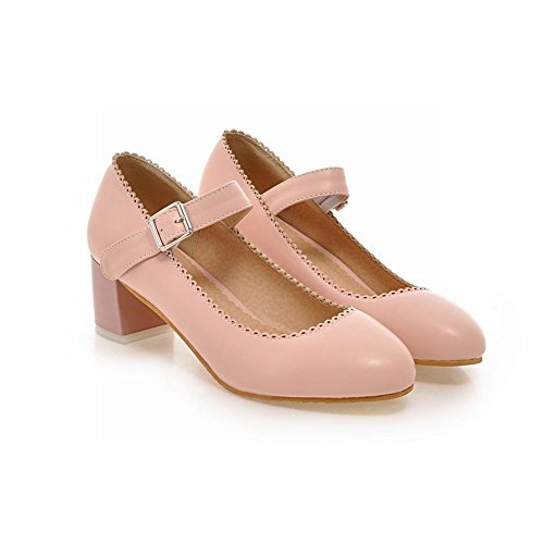 Carolbar Women's Lovely Solid Color Mid Heel Ankle-strap Court Shoes Pink hfKBH