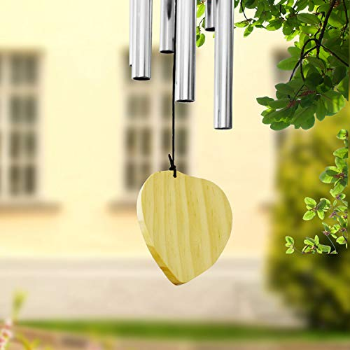 ASHLEYRIVER Wind Chimes Outdoor Deep Tone,Memorial Wind Chimes Aluminum Tubes Wooden Wind Bell for Garden/Patio/Outdoor-Silver