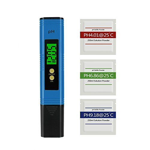 Digital pH Meter with 3 Set of pH Buffer Powder, BeneStellar pH Tester with ATC Measure Household Drinking Water, pH Testing, Aquarium, Water, Swimming Pool, Hydroponics (Blue) by BeneStellar