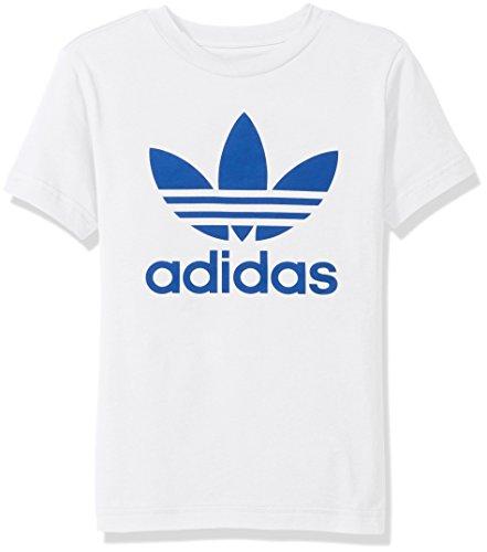 adidas Originals Big Boys' Trefoil Tee, White/Blue, S