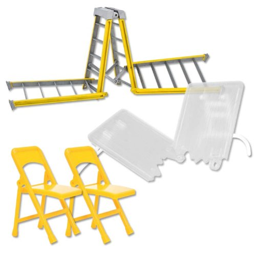Ultimate Ladder, Table and Chairs Yellow Playset for WWE Wrestling Action Figures (Wwe Table Ladders And Chairs)