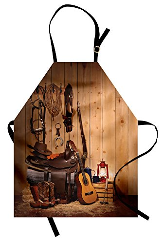 Ambesonne Western Apron by, Wild West Themed Cowboy Hat and Old Ranching Rope On Wooden Display Rodeo Cowboy Style, Unisex Kitchen Bib Apron with Adjustable Neck for Cooking Baking Gardening, Brown