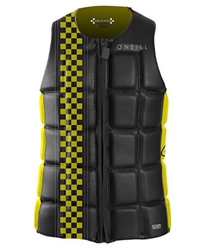 O'Neill Wetsuits Wake Waterski Men's Checkmate Comp Vest, Black/Yellow, - Comp Wetsuit