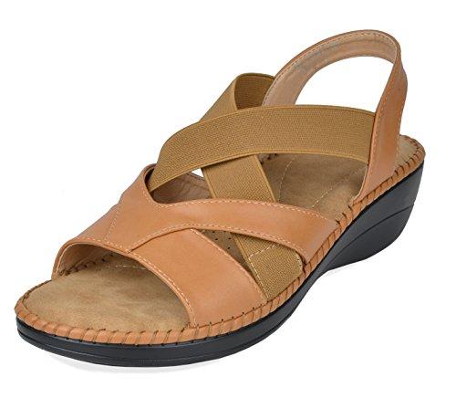 DREAM PAIRS Women's Truesoft_02 Camel Low Platform Wedges Slingback Sandals Size 9.5 B(M) US