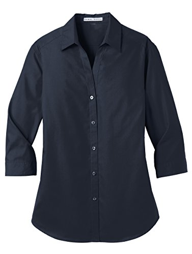 KAMAL OHAVA Women's 3/4 Sleeve Button Down Poplin Shirt, River Blue Navy, L - Poplin 3/4 Sleeve Shirt