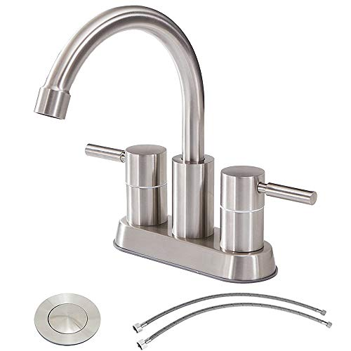 Commercial Double Handle Brushed Nickel Bathroom Faucet, Stainless Steel Bathroom Sink Faucet Lavatory Faucets With Pop-Up Drain and Hot & Cold Water Hose