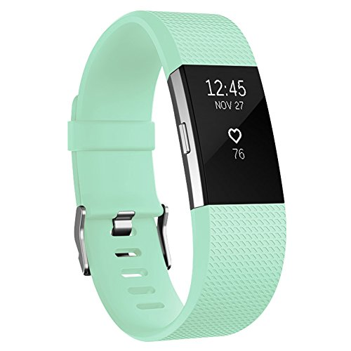 Fitbit Charge 2 Bands, AK Classic Edition Adjustable Comfortable Replacement Wristbands for Fitbit Charge 2 Heart Rate [No Tracker] (Teal, Large)