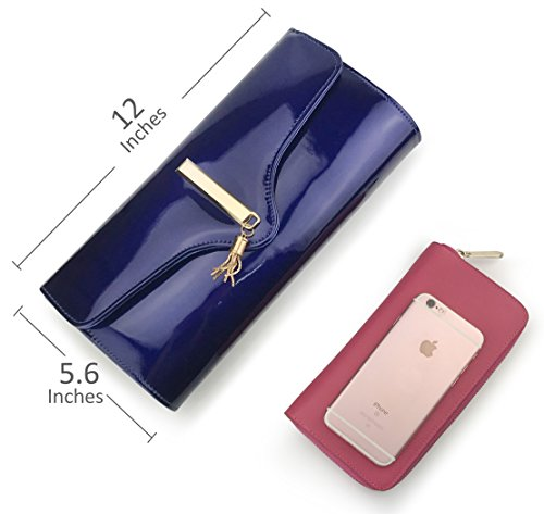 With Concert Cocktail Glossy Navy Wedding Purse Clutch Chain Tassel Women��s Evening Strap Party ZCRWnIWx