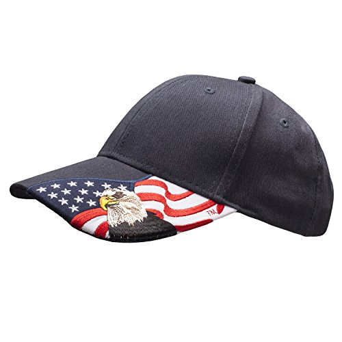 Embroidered USA Flag with American Eagle Adjustable Cap 100% Cotton Basball Hat