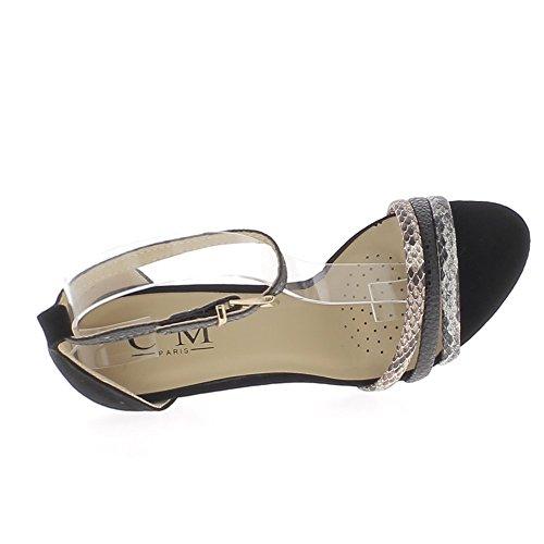 suede 5 finas Acabar sandalias talón 10 de negro con aspecto cm bridas 8XqX4a