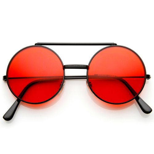 zeroUV - Limited Edition Color Flip-Up Lens Round Circle Django Sunglasses - Sunglasses Colour Red