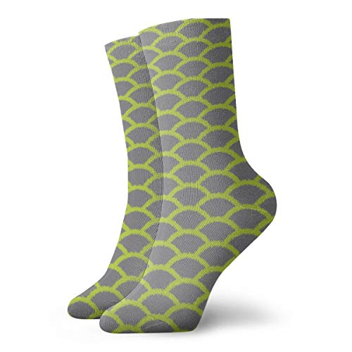 Scallop Ikat Chartreuse Gray Crew Socks Casual Funny For Sports Boot Hiking Running Etc.