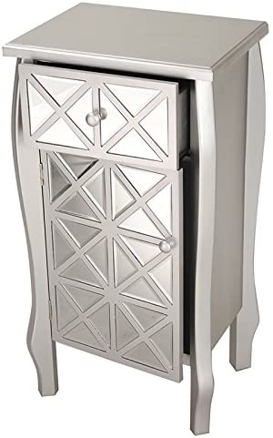 Heather Ann Creations Style Single Drawer Accent Cabinet Console, 32.7 x 17.3 , Smoke Silver Mirror
