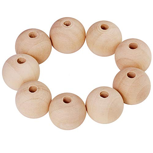 120 Pcs Unfinished Natural Solid Round Wood Spacer Beads Round Ball 1 inch Diameter Wooden Loose Beads Balls for DIY Art & Craft Project and Jewelry Making -